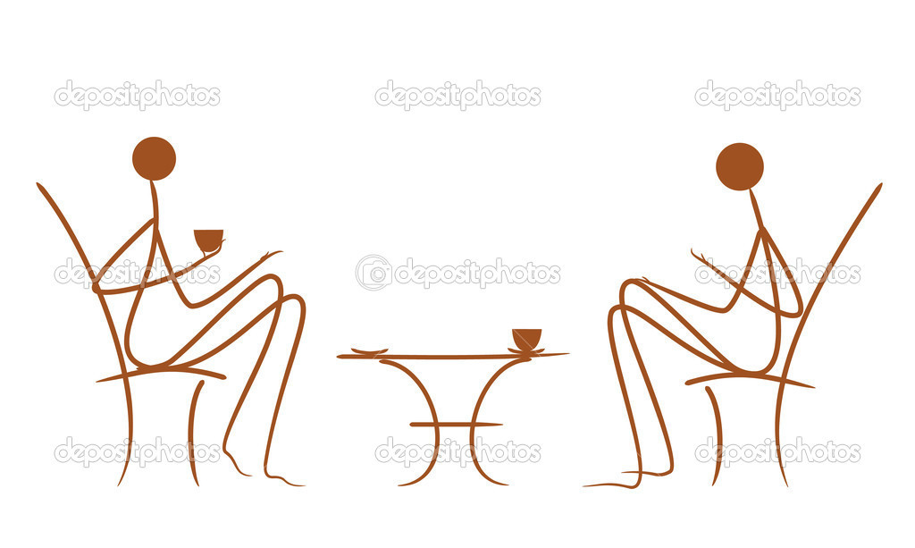Symbolic vector drawing couples in cafe